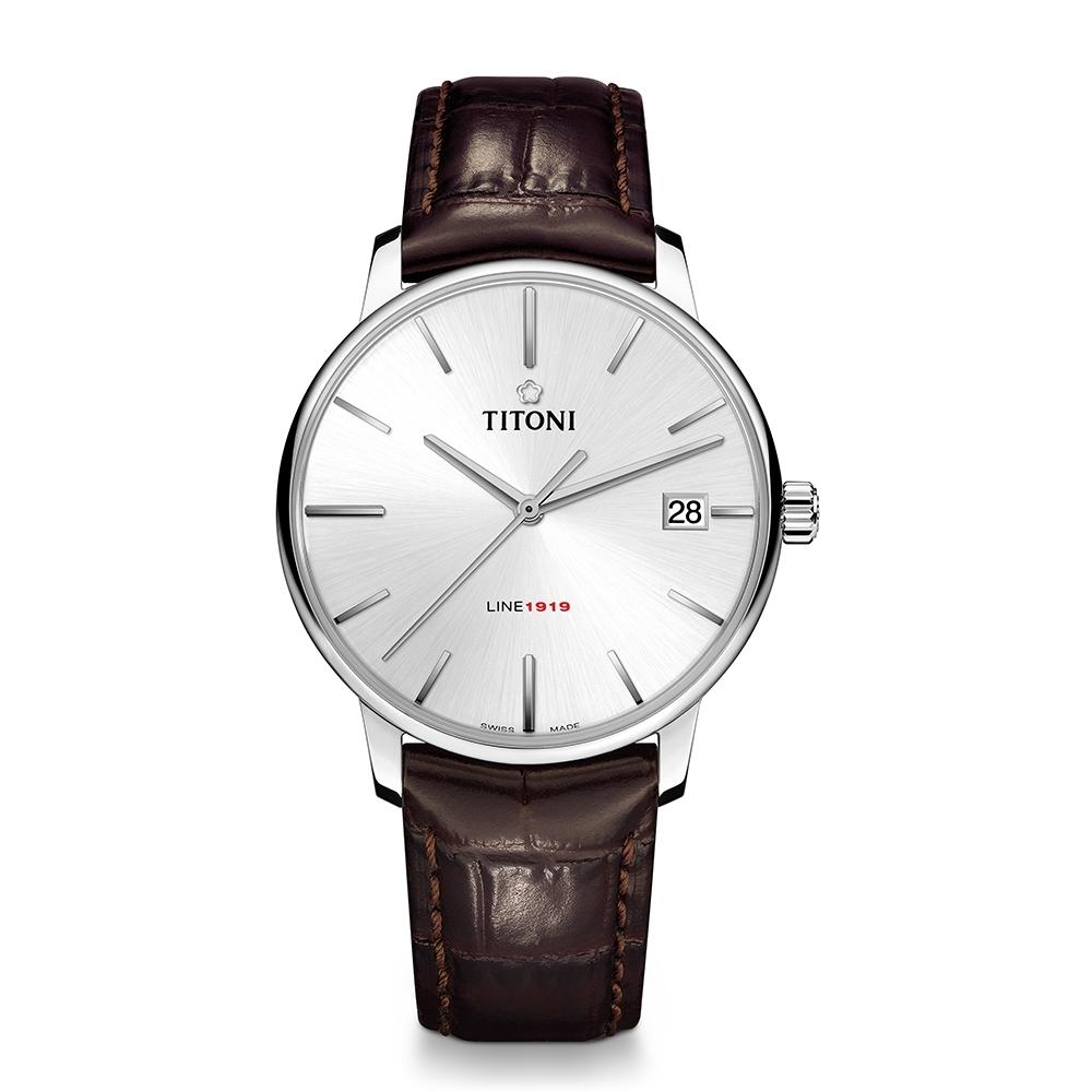 TITONI瑞士梅花錶 LINE1919 百周年系列錶款 T10 超薄自製機芯 (83919 S-ST-575)-銀面皮帶/40mm