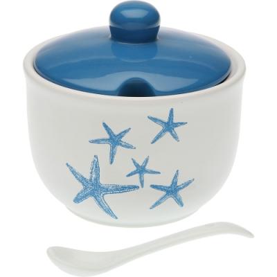 《VERSA》附匙陶製調味罐(藍海星)