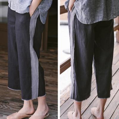 休閒褲-亞麻拼接寬管薄版寬鬆九分-設計所在