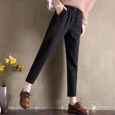 La Belleza鬆緊腰抽繩高腰側口袋彈性西裝褲小腳哈倫褲