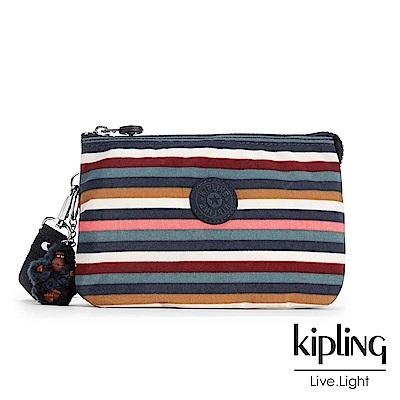 Kipling 掛繩手拿包 彩色拼接條紋-小