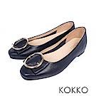 KOKKO -微涼空氣全真皮圓扣平底鞋-純粹藍