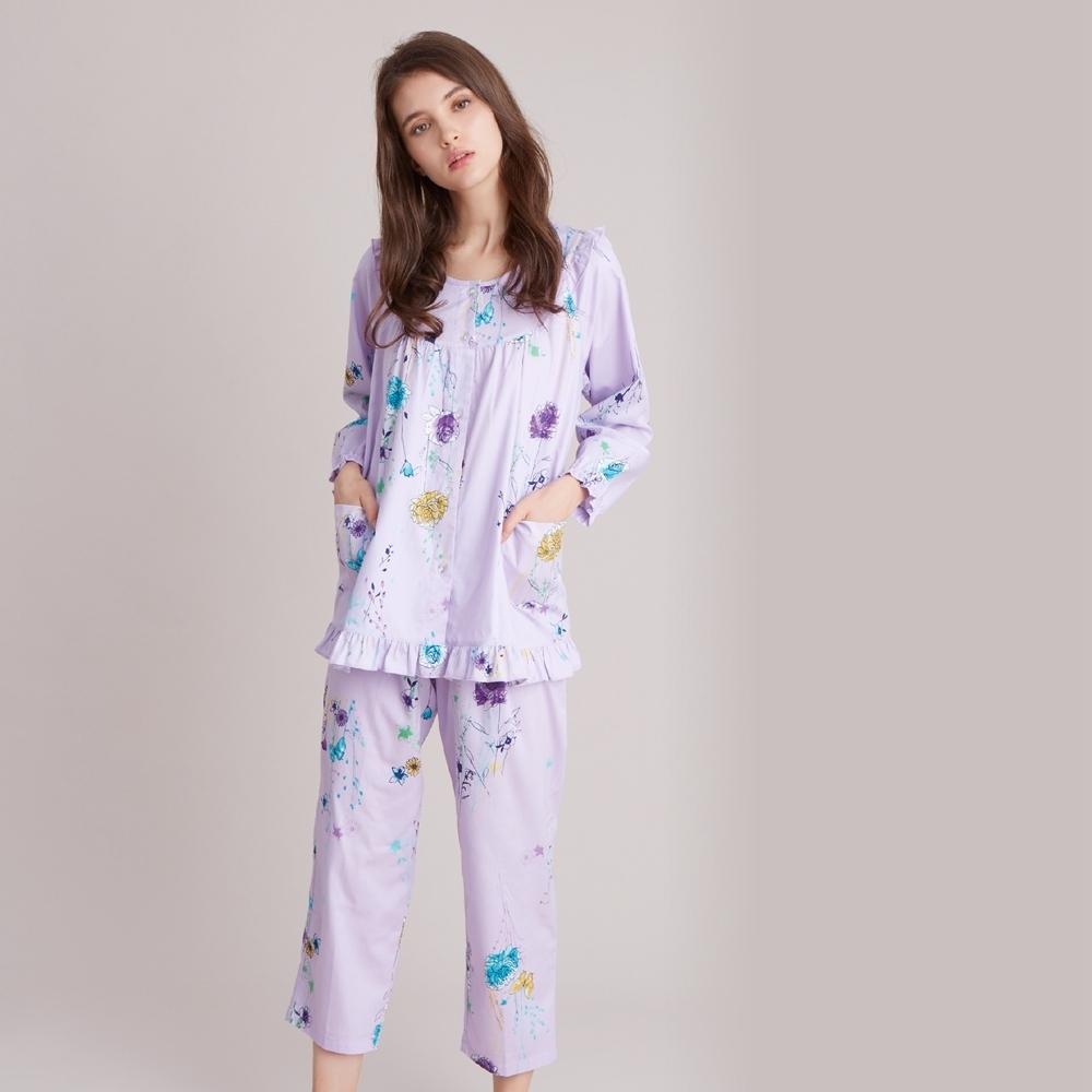 羅絲美 - 畫意生活全開釦長袖褲裝睡衣