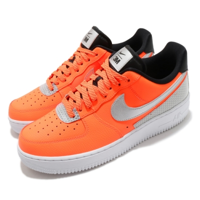 Nike 休閒鞋 Air Force 1 07 3M 男鞋 基本款 簡約 AF1 反光 皮革 穿搭 橘 銀 CT2299800