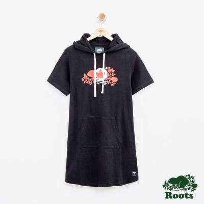 女裝Roots加拿大系列-海狸國旗連帽短袖洋裝-黑