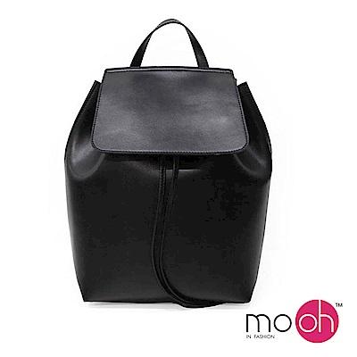 mo.oh 全真皮-拚色真皮簡約水桶後背包-黑色