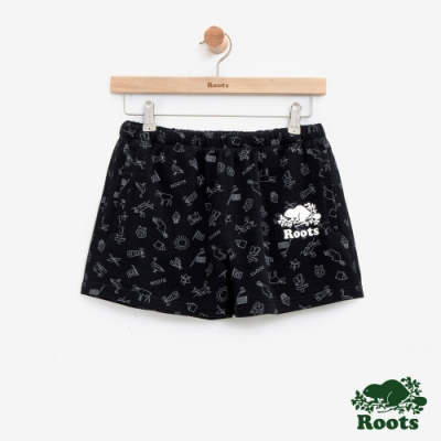 女裝Roots加拿大系列-滿版印花短褲-黑