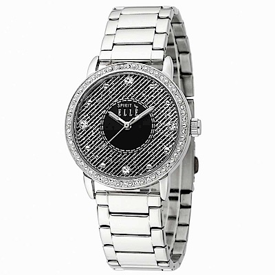 ELLE -神秘晶鑽不鏽鋼腕錶-灰黑/銀-32mm