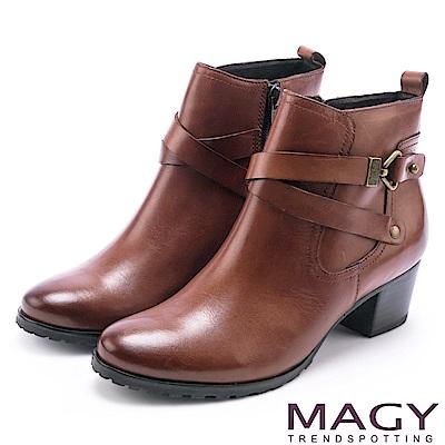 MAGY 街頭率性 交叉皮帶牛皮工程踝靴-棕色