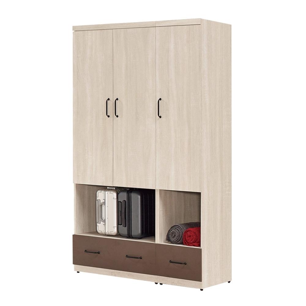 文創集 布拉森 現代4尺二抽三門衣櫃/收納櫃組合-120x59.5x197cm免組