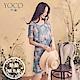東京著衣-YOCO 春絮微風腰鬆緊滿版印花露肩雪紡洋裝-S.M.L(共兩色)