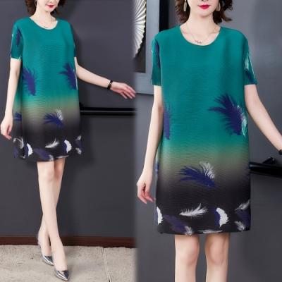 【KEITH-WILL】(預購) 寬鬆時尚印花三宅壓摺洋裝