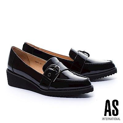 厚底鞋 AS 率性風經典金屬釦全真皮厚底鞋-黑
