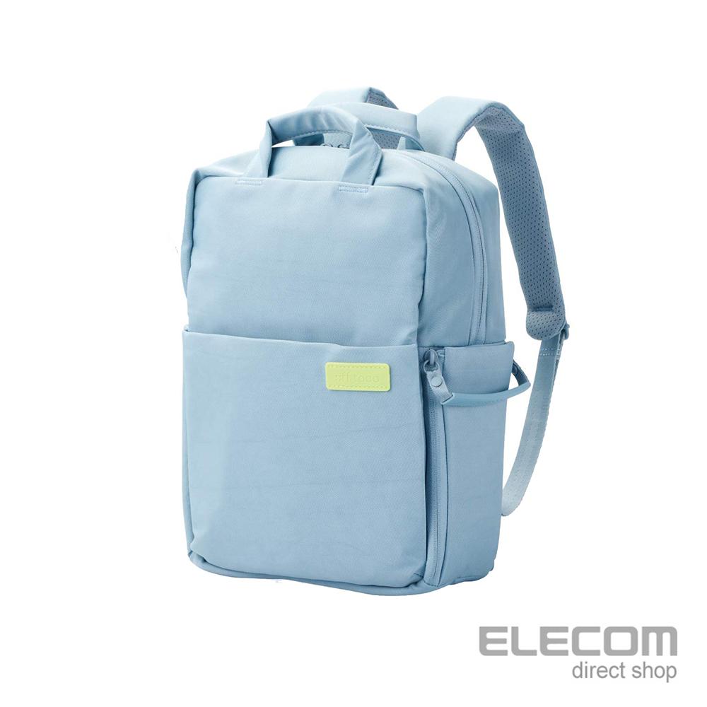 ELECOM 帆布3WAY薄型後背包OF05(限定色)-S粉藍