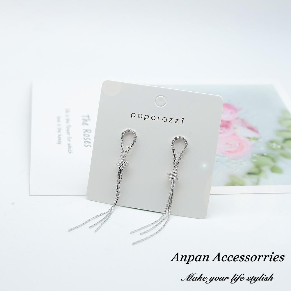 【全館五折】ANPAN愛扮925銀針韓東大門水滴鑽石金屬流蘇鍊耳環