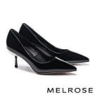 高跟鞋 MELROSE 極簡知性光澤感軟漆皮尖頭高跟鞋-黑