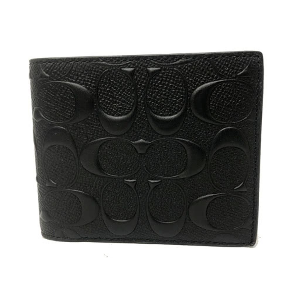 COACH 經典浮雕C男款8卡對折短夾附活動式證件夾(黑)