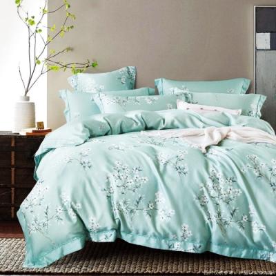 Saint Rose頂級精緻100%天絲床罩八件組(包覆高度35CM)-花雨露 加大