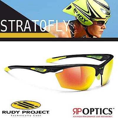 Rudy Project STRATOFLY 抗紫外線鍍銀運動眼鏡_磨砂黑框 橘色鍍銀片