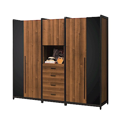 文創集 普艾爾7.5尺開門衣櫃組合(吊衣桿+五抽屜)-224x60x202cm免組