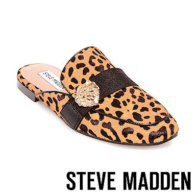STEVE MADDEN-KARISMA 獅子飾扣真皮低跟穆勒鞋-豹紋