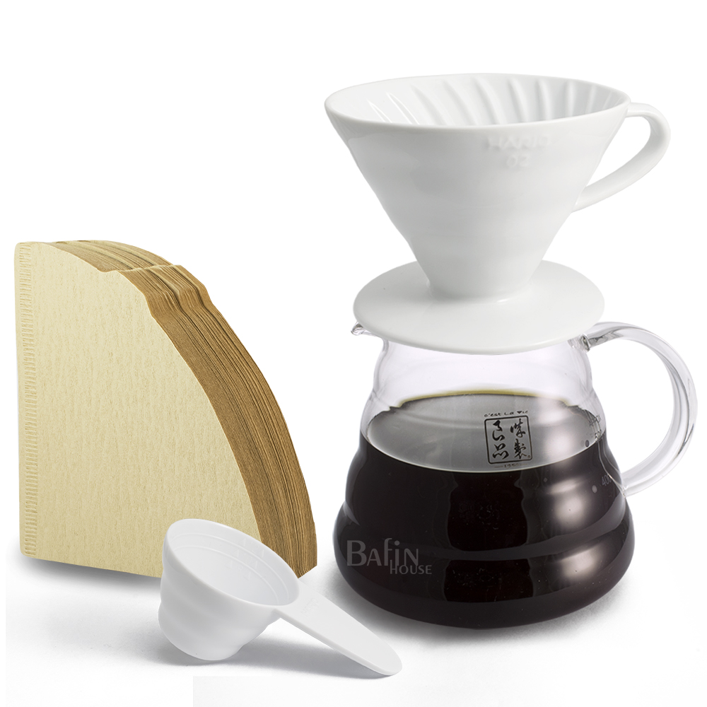 HARIO 4人份燒陶瓷濾杯及濾紙100張+誠製良品 雲朵咖啡壺650ml