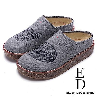 ED Ellen DeGeneres 舒適休閒絨面動物厚底便鞋-灰色
