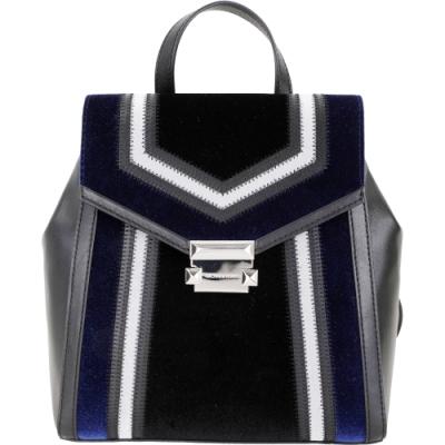 Michael Kors Whitney 銀方釦拼接材質皮革後背包(黑藍色)
