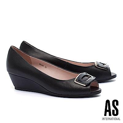 高跟鞋 AS 金屬風雙色方釦羊皮魚口楔型高跟鞋-黑