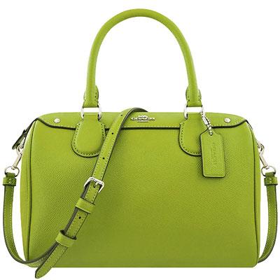 COACH 蘋果綠色皮革波士頓包