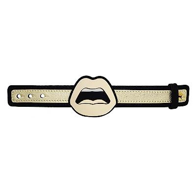 Yazbukey法國品牌 有機玻璃材質金色嘴唇可調整皮革手鍊手環