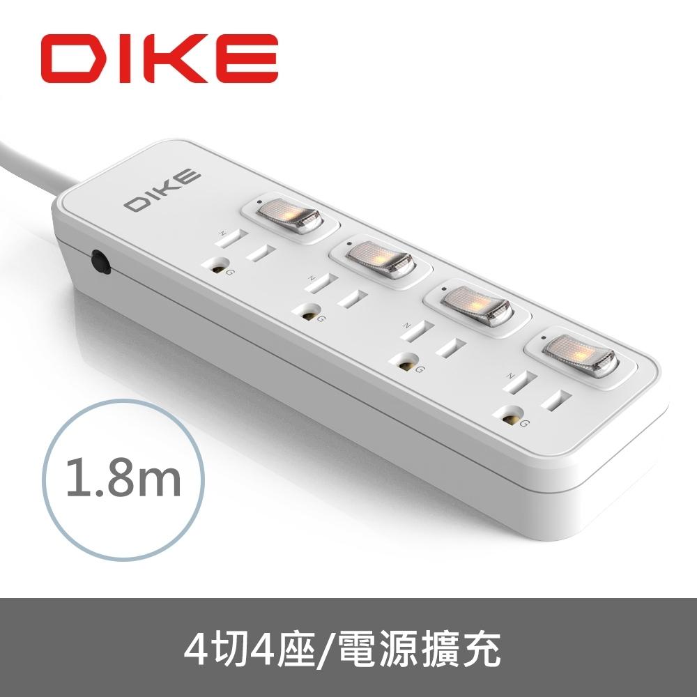 DIKE 安全加強型四切四座電源延長線-1.8M/6尺 DAH646WT