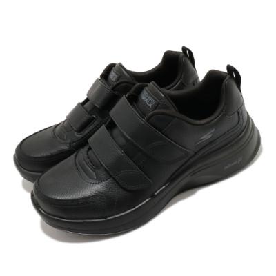 Skechers 休閒鞋 Go Walk Steady 護士鞋 女鞋 高級牛皮 魔鬼氈 回彈力 膠底 耐磨 穩定 黑 124116BBK