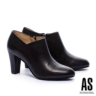 踝靴 AS 時尚優雅V口剪裁純色全真皮高跟踝靴-黑