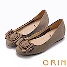 ORIN 甜美素雅 金屬圓型星星釦環牛皮平底娃娃鞋-可可