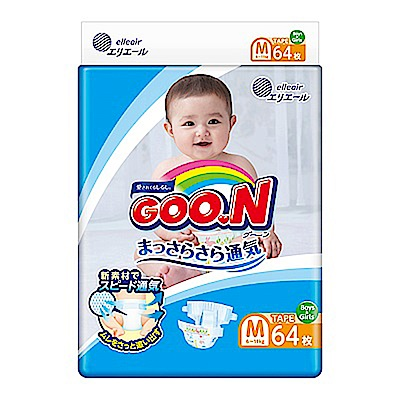 GOO.N日本大王 日本境內版-黏貼型紙尿褲(M)-64片x4包/箱-透氣舒柔