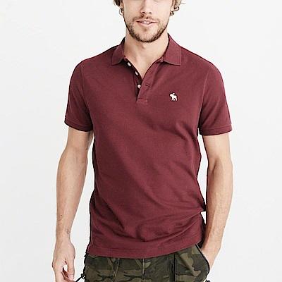 A&F 經典電繡麋鹿短袖Polo衫-酒紅色 AF Abercrombie
