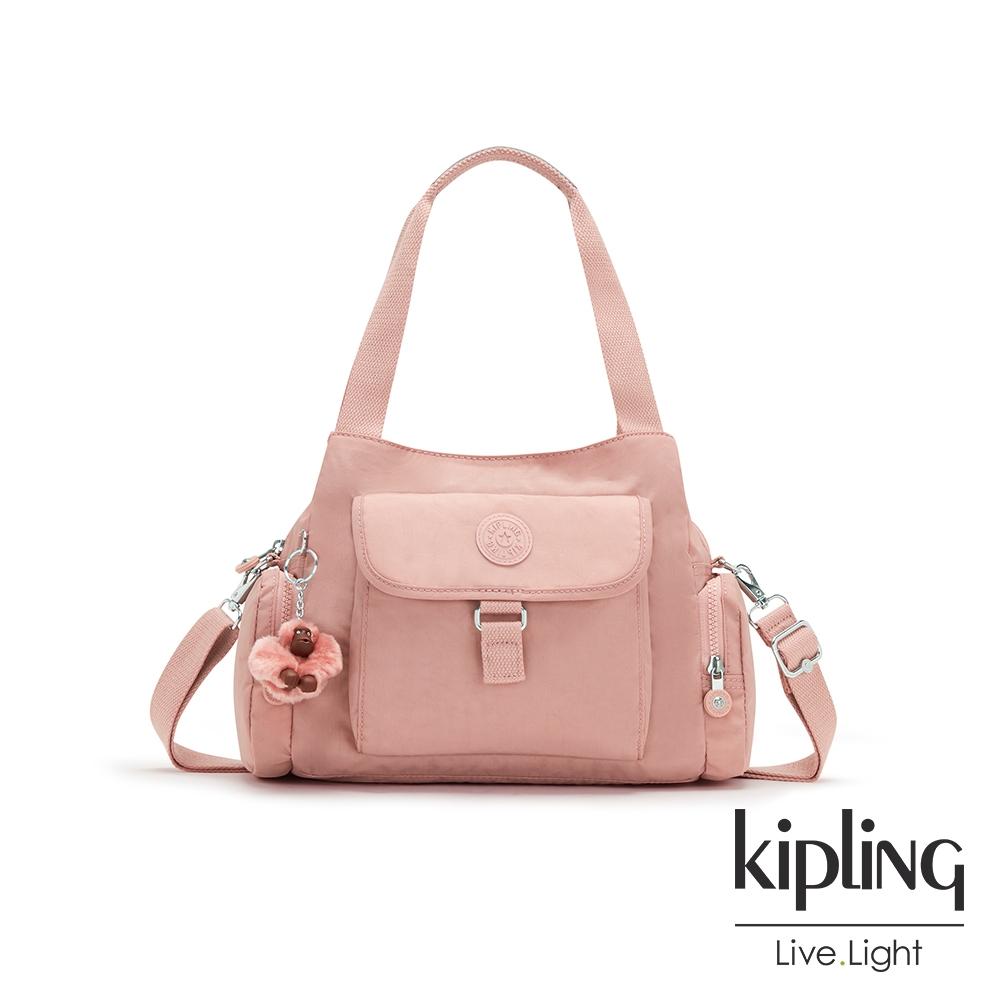 Kipling 玫瑰石英粉好收納手提兩用斜背包-EIRENE
