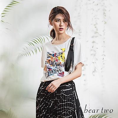 beartwo 圖鴉拼貼造型T恤上衣(二色)