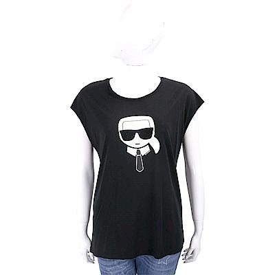 Karl Lagerfeld KARL IKONIK 黑鑽墨鏡老佛爺黑色棉質T恤