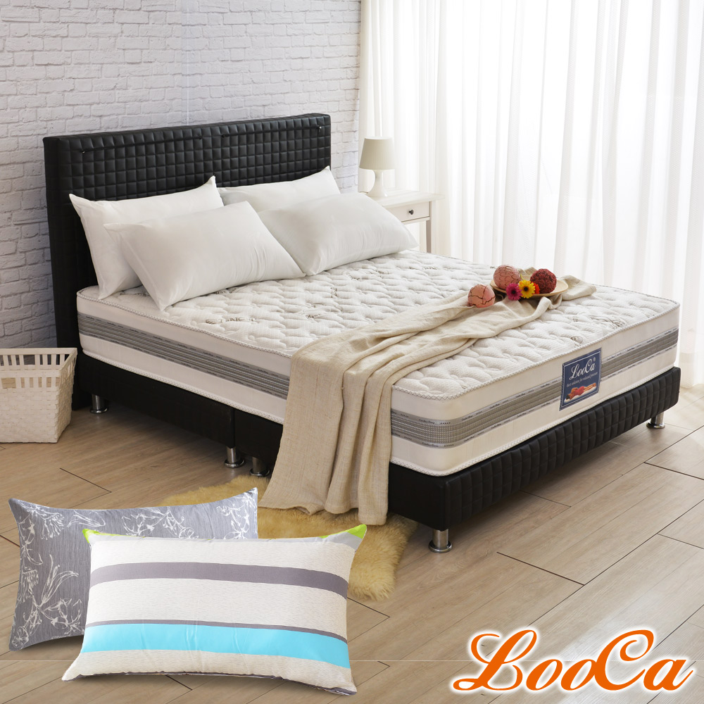 (開學組)單大3.5尺-LooCa 法國防蹣+防蚊+護框護背硬式獨立筒床墊