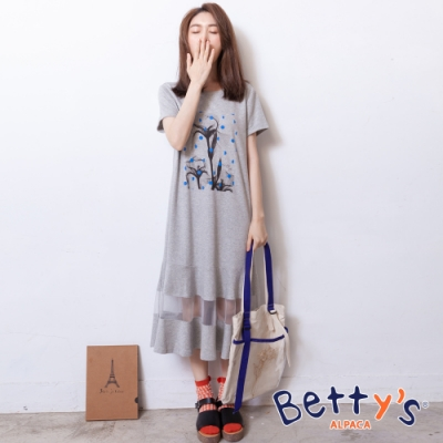 betty's貝蒂思 前印花紗網拼接洋裝(淺灰)
