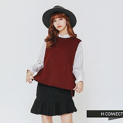 H:CONNECT 韓國品牌 女裝-側綁結針織背心-紅