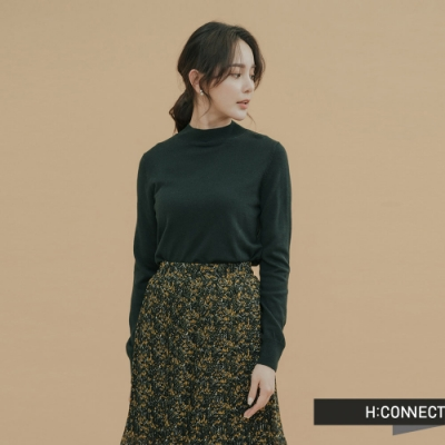 H:CONNECT 韓國品牌 女裝-柔軟素面細針織上衣-綠