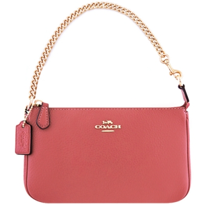 COACH 玫瑰粉色荔枝紋皮革鍊帶手提包