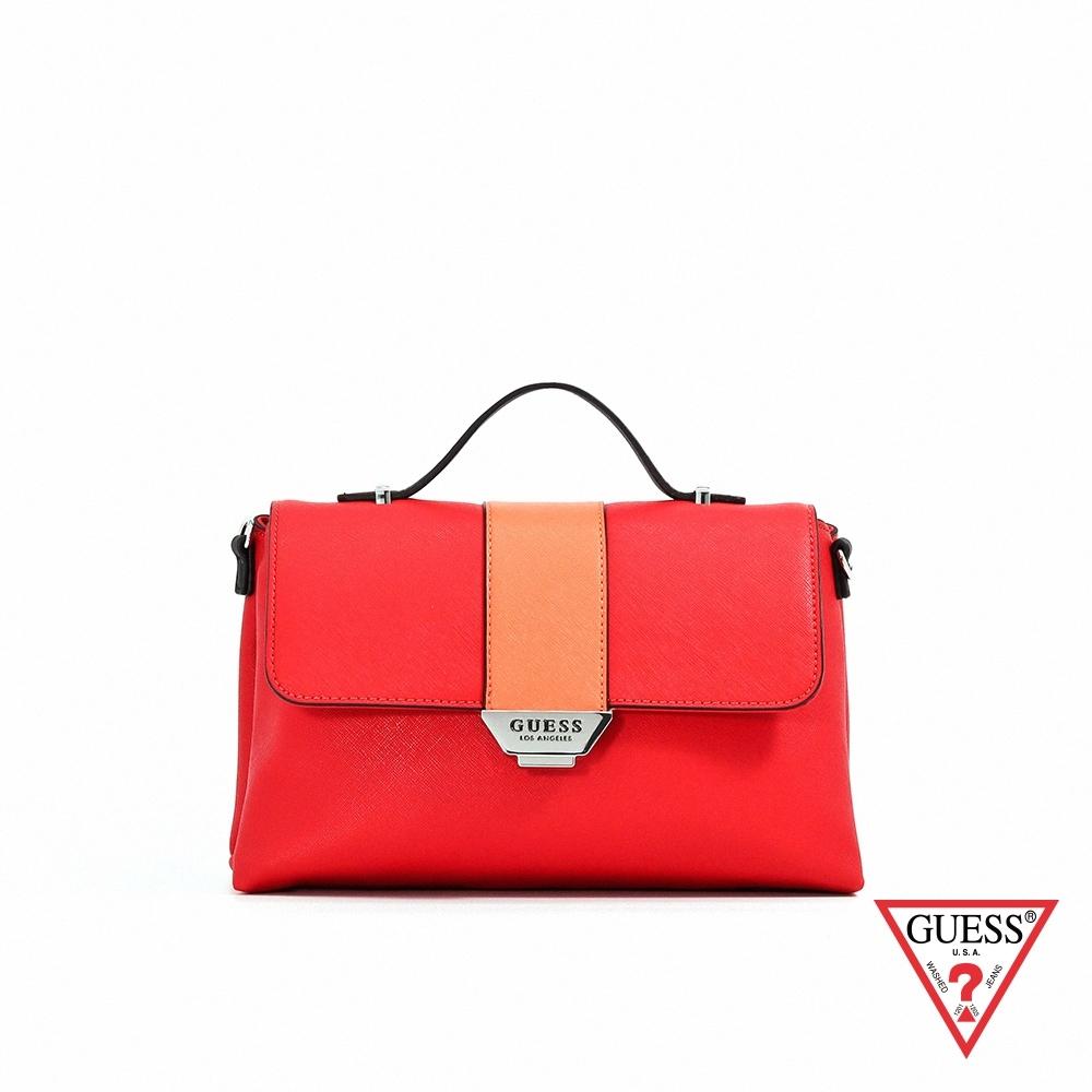 GUESS-女包-簡約素面肩背包-紅 原價3090
