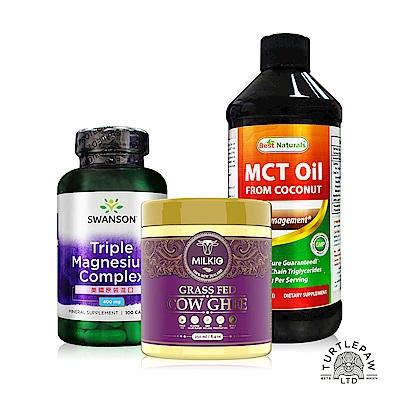 中鏈MCT油(473ml/瓶)+無水奶油230公克/瓶+全方位三重鎂膠囊(100顆/瓶)