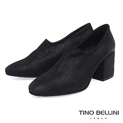 Tino Bellini義大利進口特殊啞光布料高跟踝靴_黑