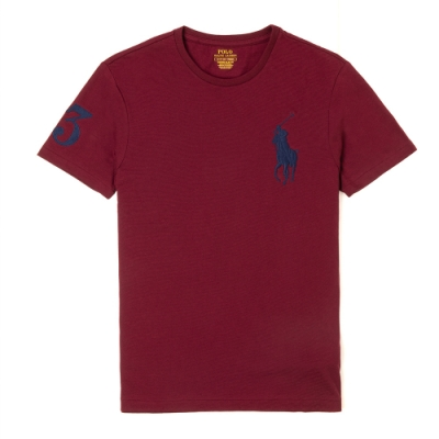 Polo Ralph Lauren 年度熱銷刺繡大馬圓領短袖素面T恤-酒紅色