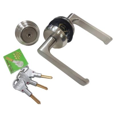 白鐵水平把手+輔助鎖 40-50MM 龍形鎖(二舌) 防盜門門鎖 補助鎖 把手 金冠